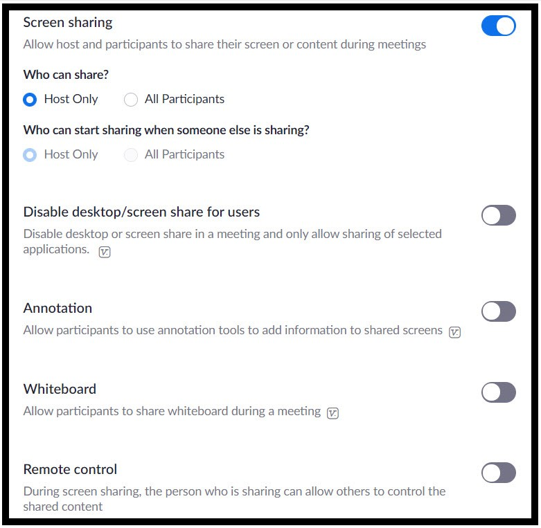 Zoom's screen sharing options